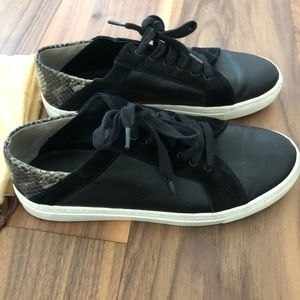 Vince black leather sneakers with snake accent